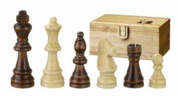Houten box met set schaakstukken 'Remus', Esdoorn, met viltsokkel, Staunton. Koningshoogte 70 mm.